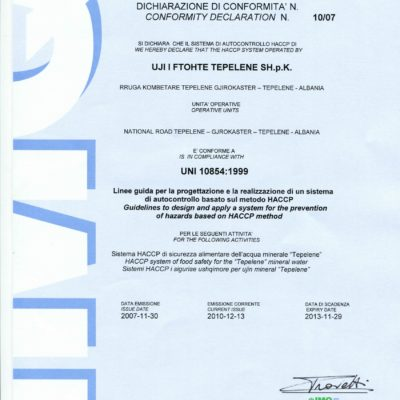 CERTIFICATION OF QUALITY SYSTEM. HACCP